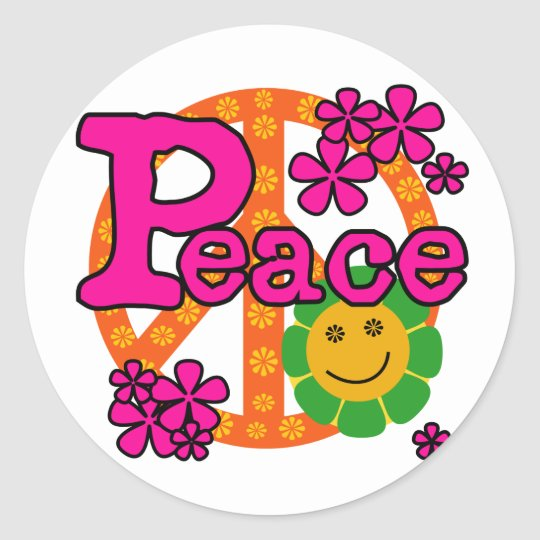 60s Style Peace Classic Round Sticker