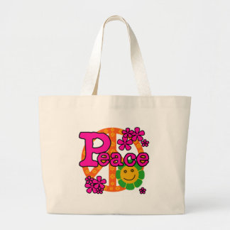 60s Style Peace Large Tote Bag