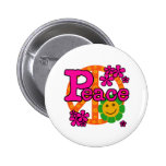 60s Style Peace Pinback Button