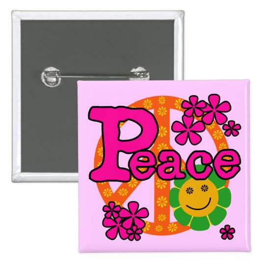 60s Style Peace T-shirts and Gifts Pinback Button