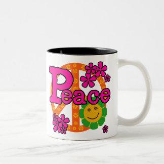 60s Style Peace Two-Tone Coffee Mug