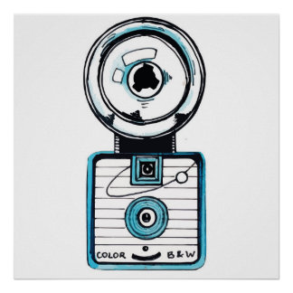 60s Style Vintage 127 Format Plastic Camera - Blue Poster