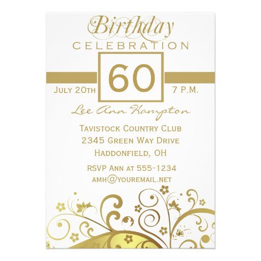 Personalized 60th birthday Invitations CustomInvitations4Ucom