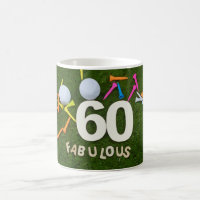 60th and Fabulous Golfer birthday with golf ball Coffee Mug