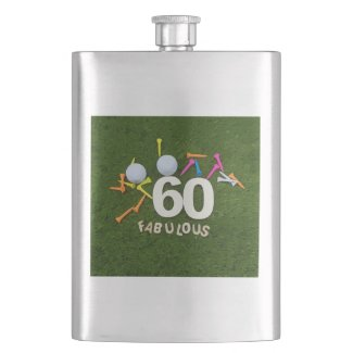 60th and Fabulous Golfer birthday with golf ball Flask