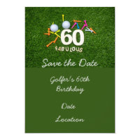 60th and Fabulous Golfer birthday with golf ball Invitation