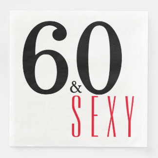60th and Sexy Birthday Party Paper Dinner Napkin