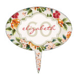 60th Anniversary Birthday Elegant Vintage Floral Cake Topper