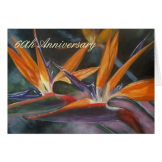 60th Anniversary Card with Bird of Paradise