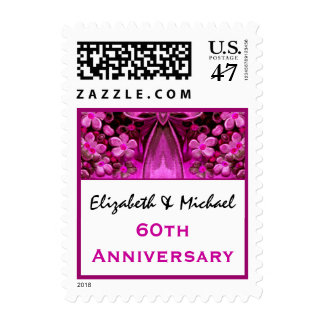 60th Anniversary Custom Names Pink Flowers and Bow Postage