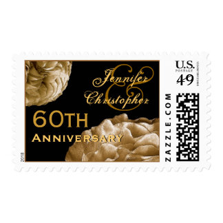60th Anniversary Customized Stamp - GOLD Roses