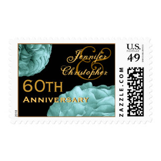 60th Anniversary Customized Stamp TURQUOISE  Roses