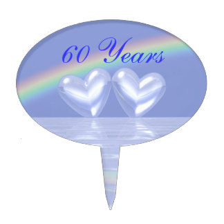 60th Anniversary Diamond Hearts Cake Topper