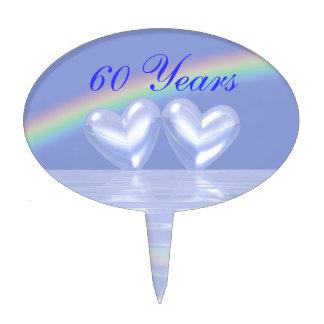 60th Anniversary Diamond Hearts Cake Topper