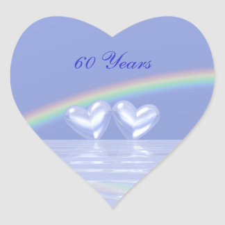60th Anniversary Diamond Hearts Heart Sticker