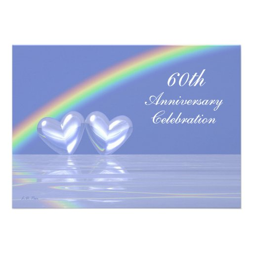 60th Anniversary Diamond Hearts Invitations