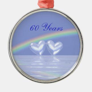 60th Anniversary Diamond Hearts Ornament