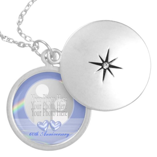 60th Anniversary Diamond Hearts (photo frame) Locket Necklace