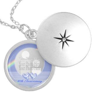 60th Anniversary Diamond Hearts (photo frame) Round Locket Necklace