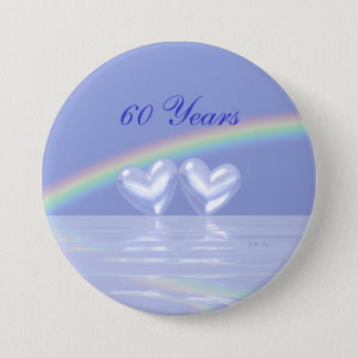 60th Anniversary Diamond Hearts Pinback Button