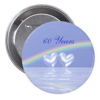 60th Anniversary Diamond Hearts Pinback Button