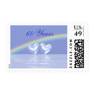 60th Anniversary Diamond Hearts Postage Stamp