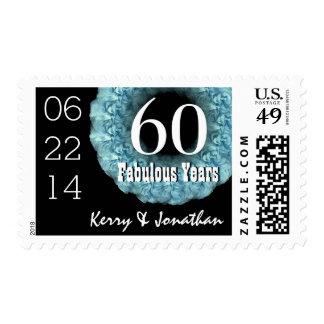 60th Anniversary Elegant BLUE Roses Wreath V07 Postage
