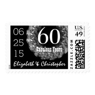 60th Anniversary Elegant SILVER Roses Wreath V02L Postage