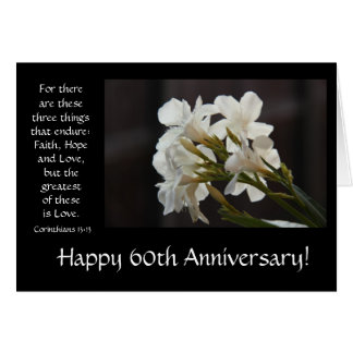 60th Anniversary Floral Bible Verse About Love Card
