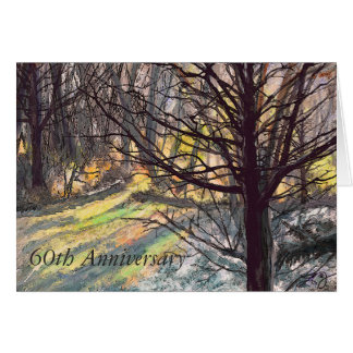 60th Anniversary Greeting Card Sunlight in Trees