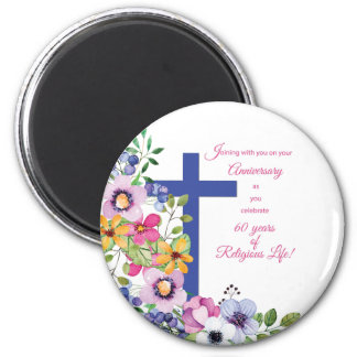 60th Anniversary, Nun, Religious Life Cross Magnet