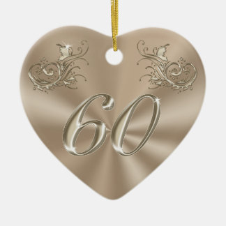 60th Anniversary Ornament, Personalized or Not Double-Sided Heart Ceramic Christmas Ornament