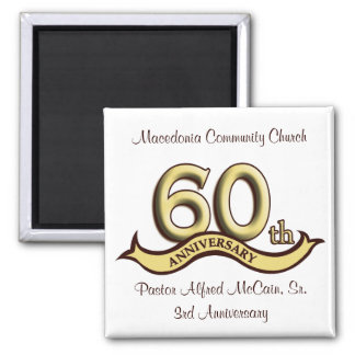 60th Anniversary Party Favors 2 Inch Square Magnet