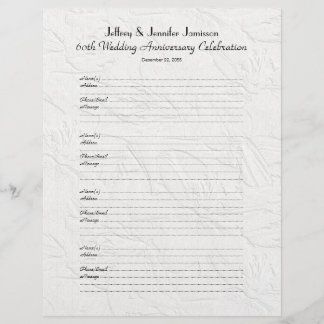 60th Anniversary Party Guest Book Sign-In Page
