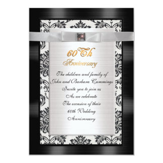 60th Anniversary party invitation formal damask