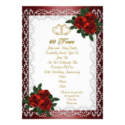 60th Anniversary Party Invitation Red Roses 5 X 7 Invitation Card