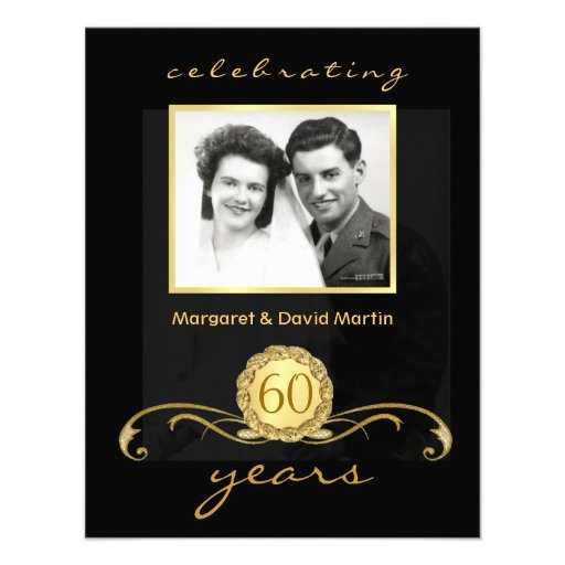 60th Anniversary Party Invitations Vintage Accents