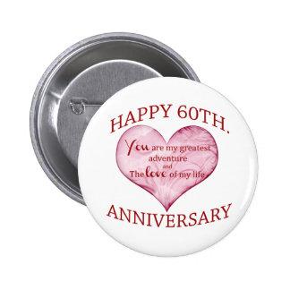 60th. Anniversary Pinback Button