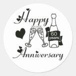 60th. Anniversary Round Sticker