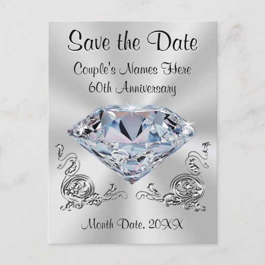60th anniversary save the date cards personalized zazzle com