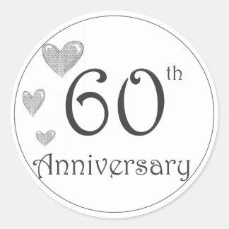 60th anniversary round stickers