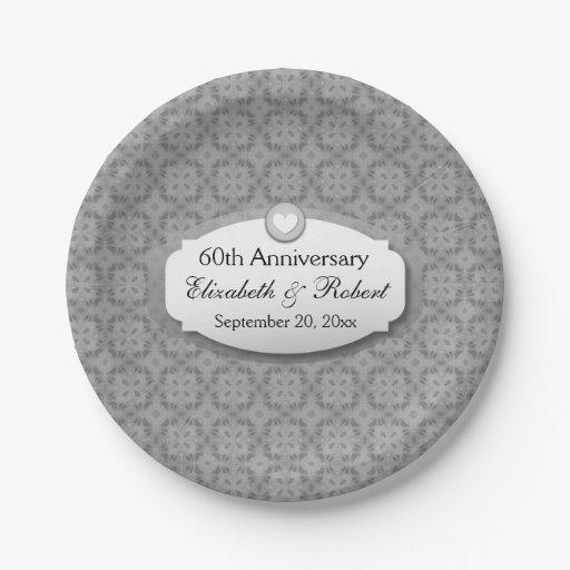 60th Anniversary Wedding Anniversary Diamond Z01 Paper Plate Zazzle