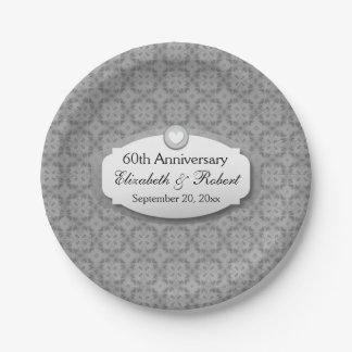 60th Anniversary Wedding Anniversary Ornate Frame Paper Plate