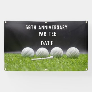 60th Anniversary with golf ball and tee on green Banner