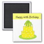 60th Birthday 2 Inch Square Magnet