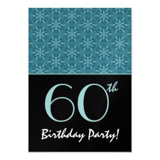 60th Birthday Aqua Retro Double Star Pattern Card