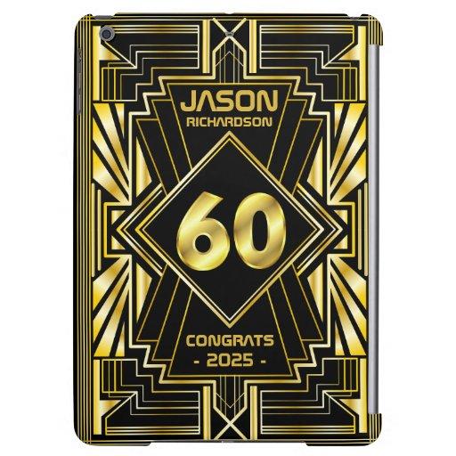 60th Birthday Art Deco Gold Black Great Gatsby Case For iPad Air