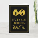 "[ Thumbnail: 60th Birthday ~ Art Deco Inspired Look ""60"" & Name Card ]"