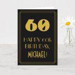 "[ Thumbnail: 60th Birthday – Art Deco Inspired Look ""60"" & Name Card ]"