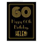 "[ Thumbnail: 60th Birthday: Art Deco Inspired Look ""60"" + Name Card ]"